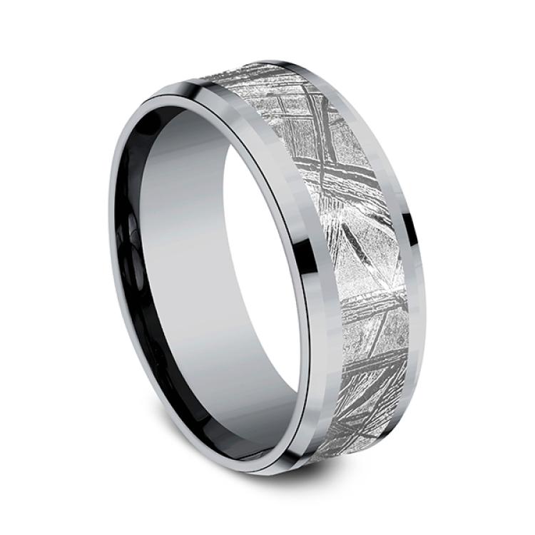 Tantalum and Meteorite Comfort-fit Design Wedding Band
