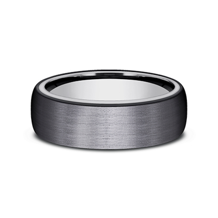 Grey Tantalum and Black Titanium ring in ring style Comfort-fit wedding band