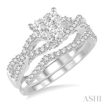 HEART SHAPE LOVEBRIGHT BRIDAL DIAMOND WEDDING SET