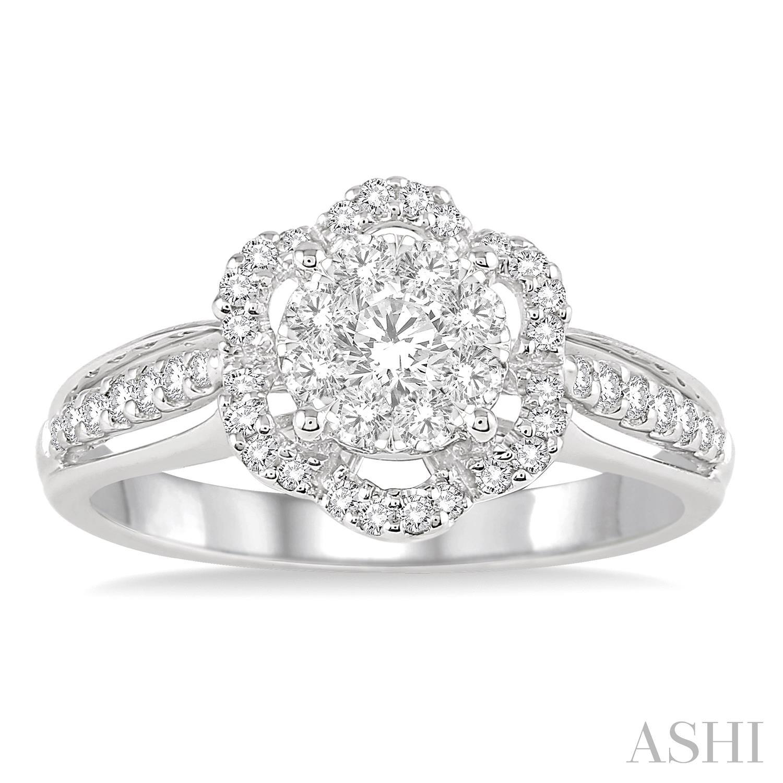 FLOWER SHAPE LOVEBRIGHT DIAMOND ENGAGEMENT RING