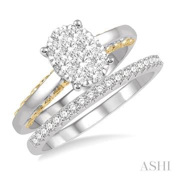OVAL SHAPE LOVEBRIGHT DIAMOND WEDDING SET
