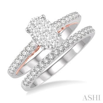OVAL SHAPE LOVEBRIGHT BRIDAL DIAMOND WEDDING SET