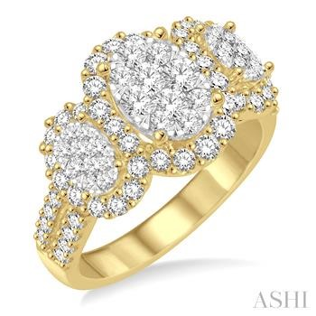 PAST PRESENT & FUTURE OVAL SHAPE LOVEBRIGHT DIAMOND RING