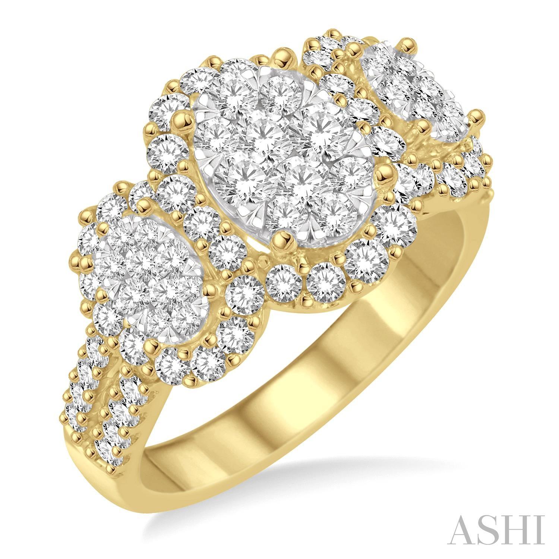 PAST PRESENT & FUTURE OVAL SHAPE LOVEBRIGHT DIAMOND RING