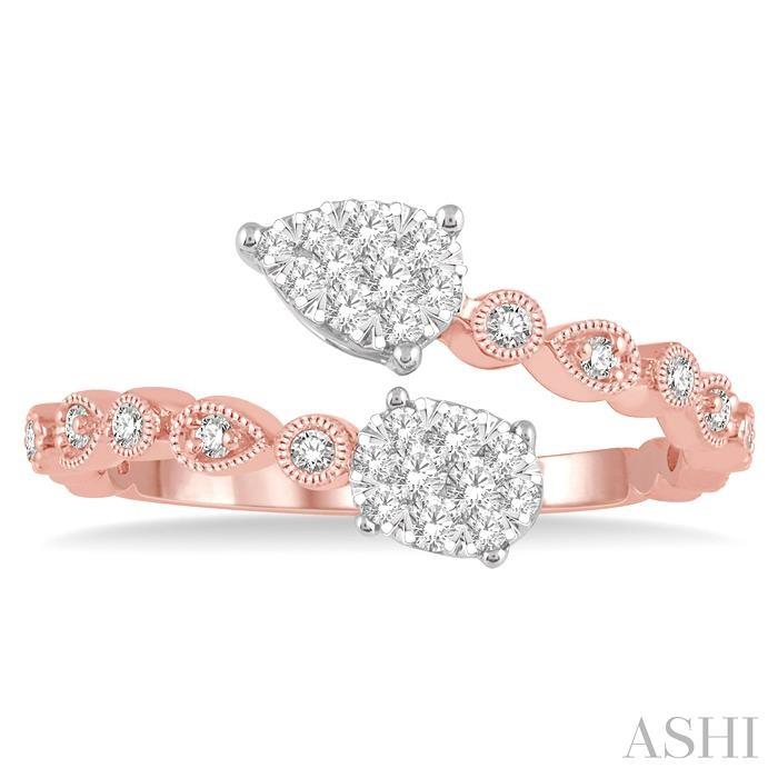 OVAL & PEAR SHAPE LOVEBRIGHT 2STONE DIAMOND RING