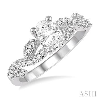 OVAL SEMI-MOUNT DIAMOND RING