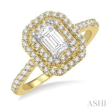 OCTAGON SHAPE SEMI-MOUNT DIAMOND RING