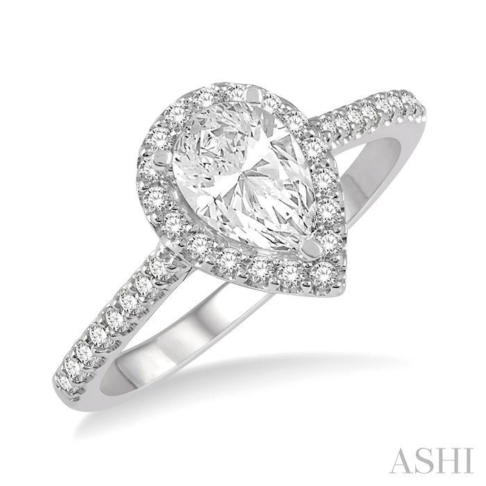 PEAR SHAPE SEMI-MOUNT DIAMOND RING