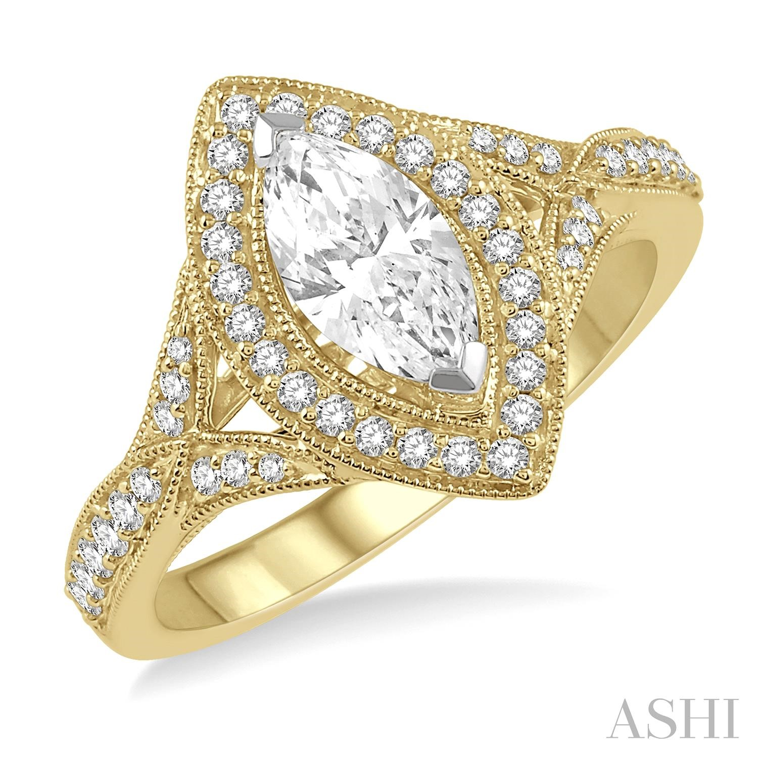Marquise Shape Semi-Mount Diamond Ring