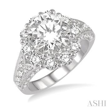 FLOWER SHAPE SEMI-MOUNT DIAMOND RING
