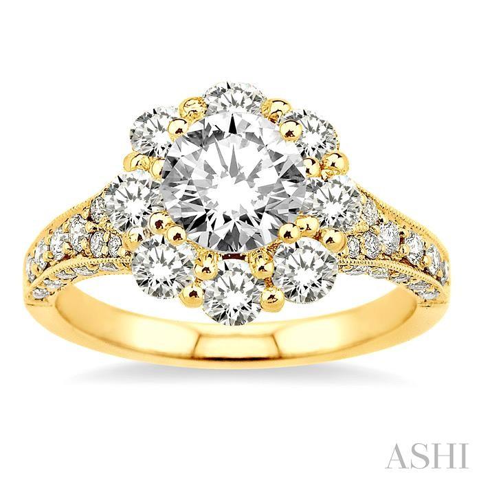 Flower Shape Semi-Mount Diamond Ring