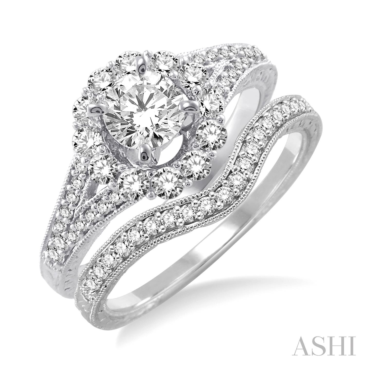 Flower Shape Diamond Wedding Set