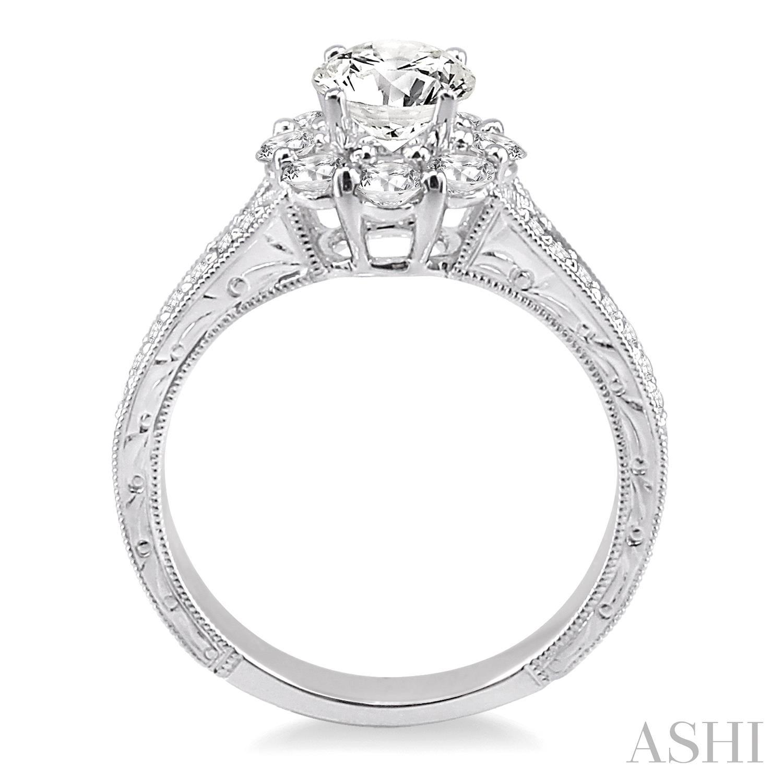Flower Shape Diamond Engagement Ring