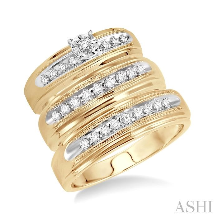 His And Her Trio Diamond Rings Set