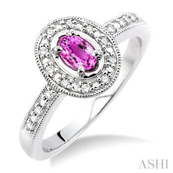 OVAL SHAPE GEMSTONE & DIAMOND RING