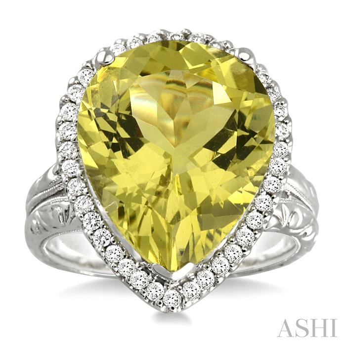 PEAR SHAPE GEMSTONE & DIAMOND RING
