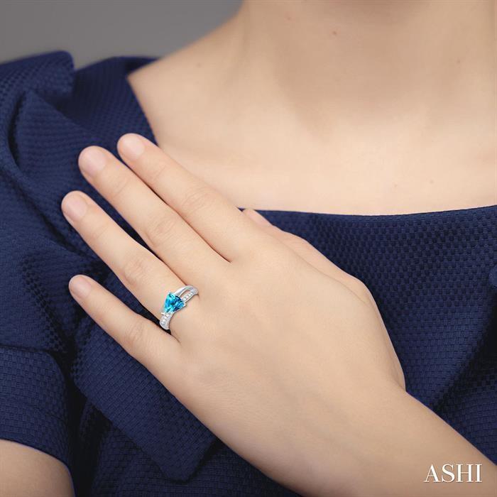 Trillion Shape Gemstone & Diamond Ring