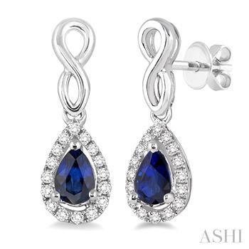 PEAR SHAPE GEMSTONE & DIAMOND EARRINGS