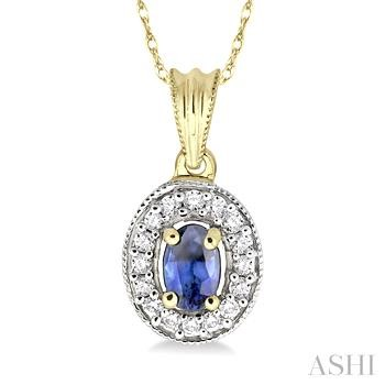 Oval Shape Gemstone & Diamond Pendant