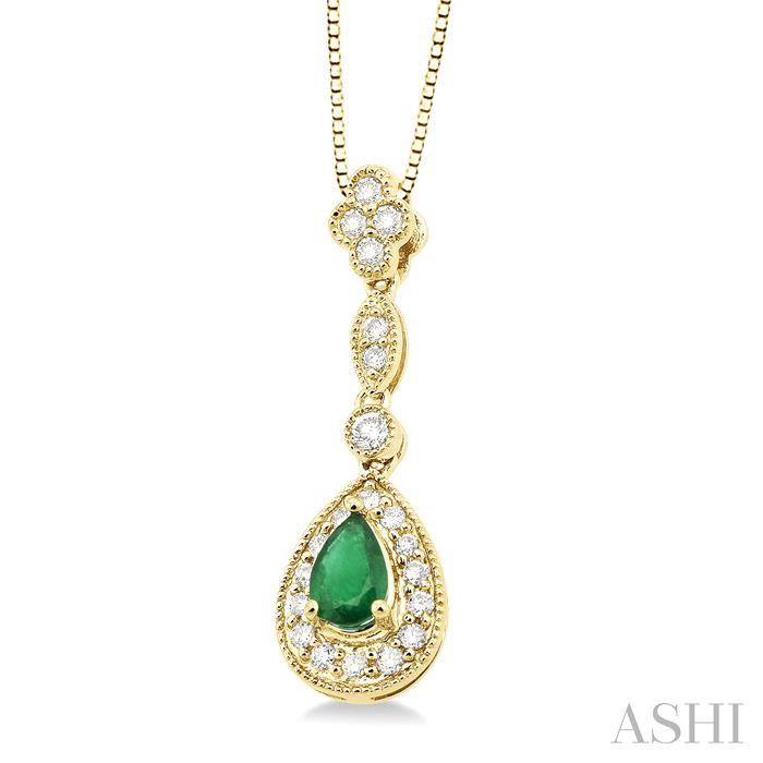 Pear Shape Gemstone & Diamond Pendant