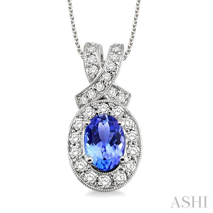 Oval Shape Gemstone & Diamond Pendant
