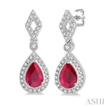 PEAR SHAPE GEMSTONE & DIAMOND EARRINGS
