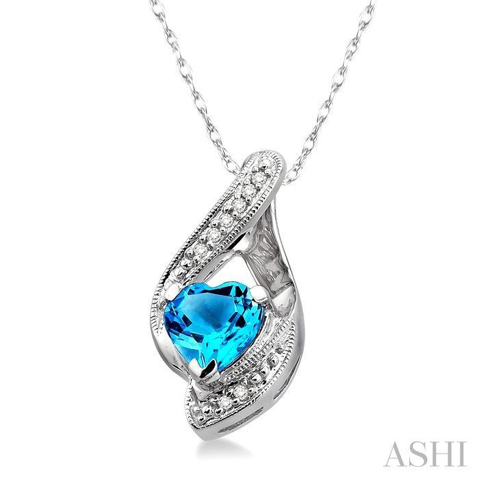 Heart Shape Gemstone & Diamond Pendant