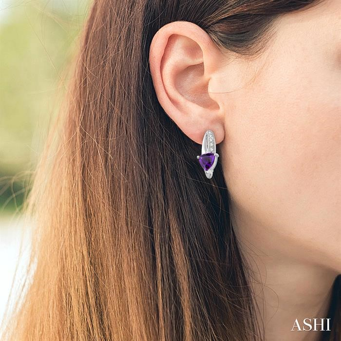 Trillion Shape Gemstone & Diamond Earrings