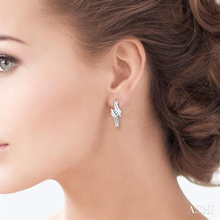 THREE STONE DIAMOND EARRINGS