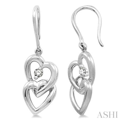 Twin Heart Shape Diamond Earrings