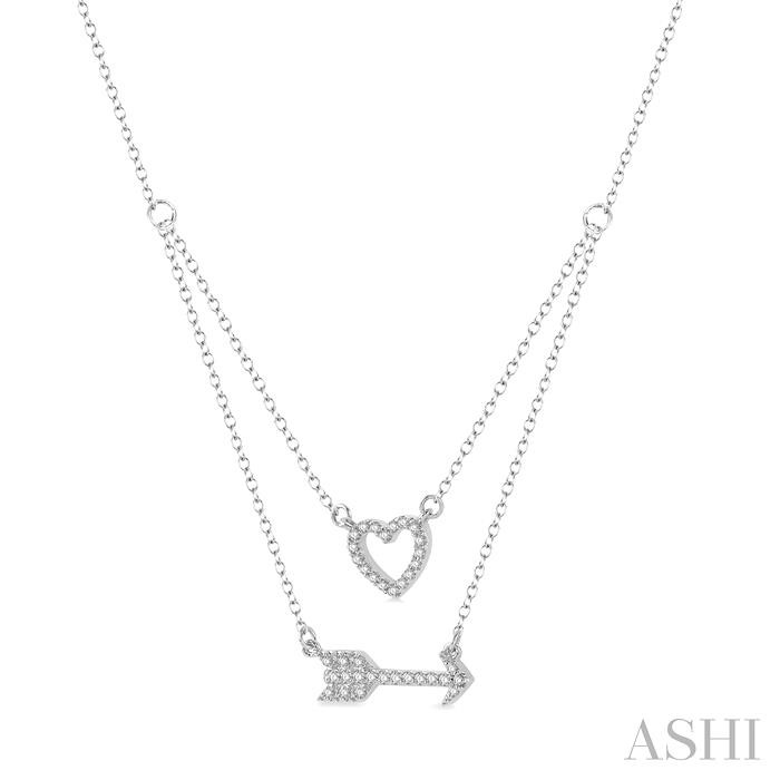 HEART SHAPE & ARROW DIAMOND LAYERED PENDANT