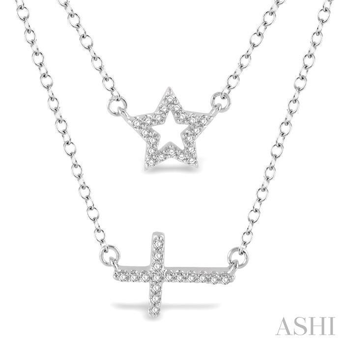STAR & CROSS LAYERED DIAMOND PENDANT