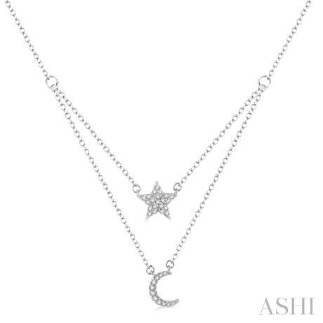 Star & Moon Layered Diamond Pendant