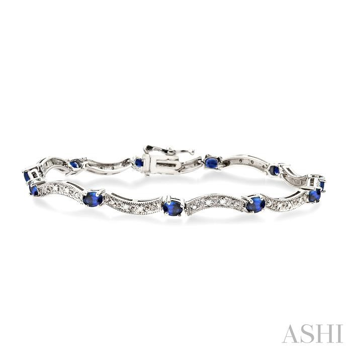 Oval Shape Gemstone & Diamond Bracelet