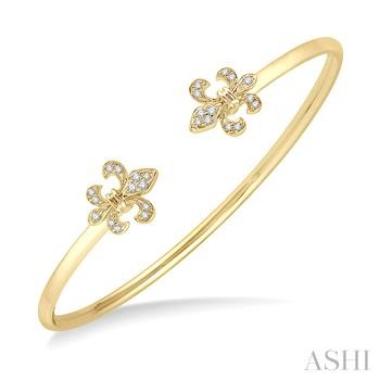 FLEUR DE LIS SHAPE GEMSTONE & DIAMOND OPEN CUFF BANGLE