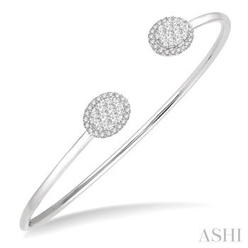 OVAL SHAPE LOVEBRIGHT ESSENTIAL CUFF OPEN DIAMOND BANGLE
