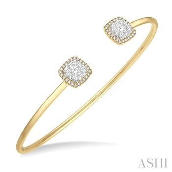 CUSHION SHAPE LOVEBRIGHT CUFF OPEN DIAMOND BANGLE