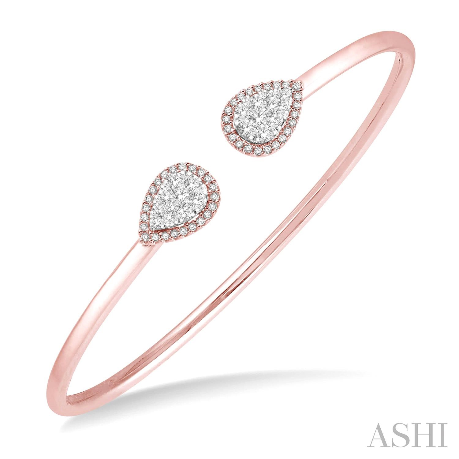 PEAR SHAPE LOVEBRIGHT CUFF OPEN DIAMOND BANGLE