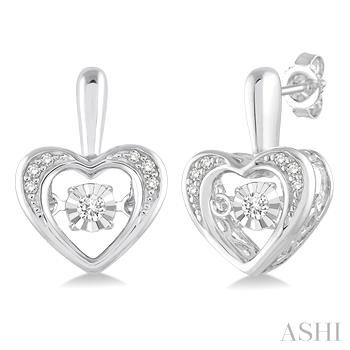 Silver Emotion Heart Shape Diamond Earrings