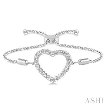 SILVER HEART SHAPE LARIAT DIAMOND BRACELET