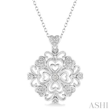 Silver Cluster Heart Shape Diamond Pendant