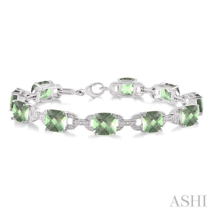 Silver Gemstone & Diamond Bracelet