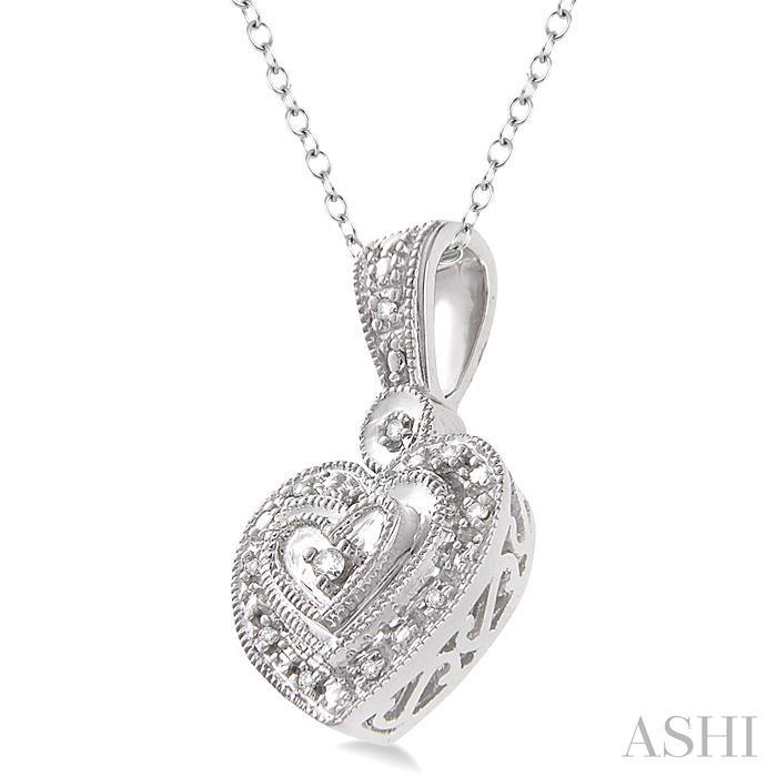 Silver Heart Shape Diamond Pendant