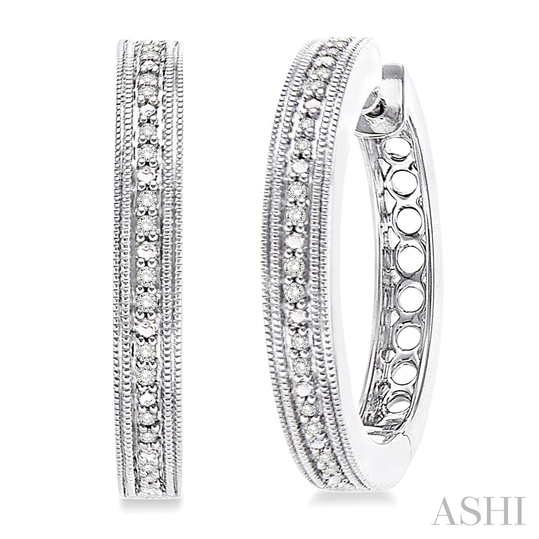 Silver Hoop Diamond Earrings