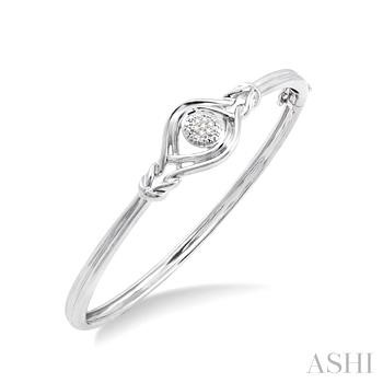SILVER LOVE KNOT DIAMOND BANGLE