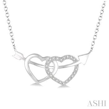 Silver Twin Heart Shape Arrow Diamond Pendant