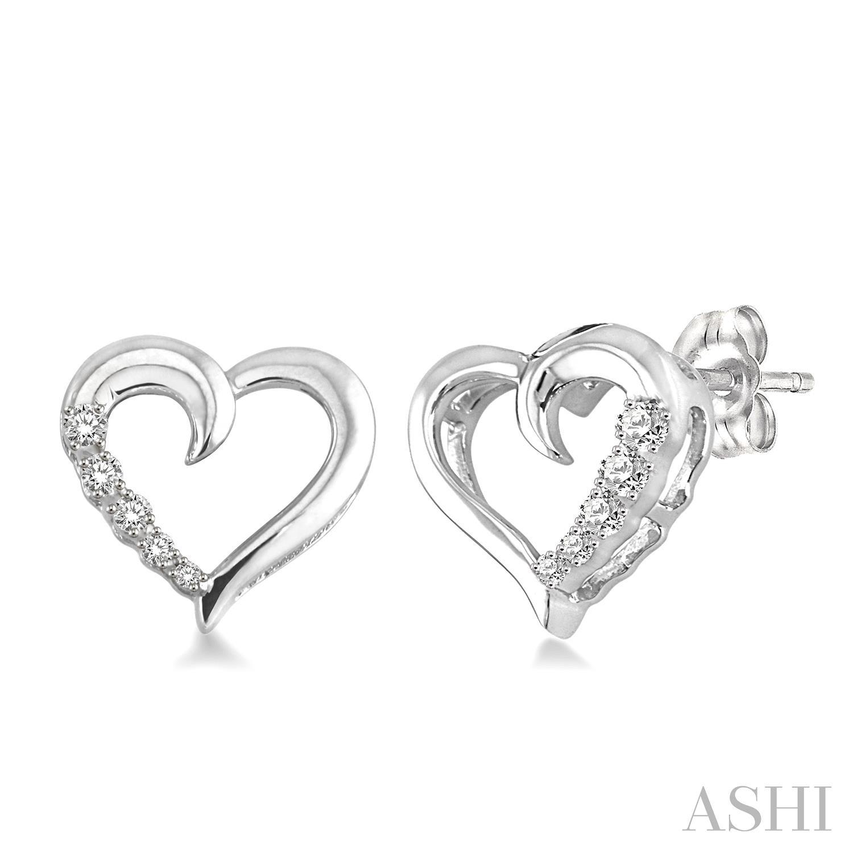 SILVER JOURNEY HEART DIAMOND EARRINGS
