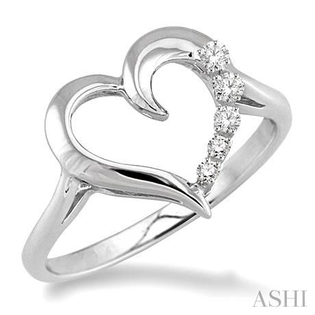 SILVER JOURNEY HEART DIAMOND RING