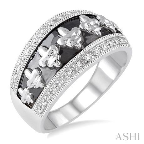 Silver Fleur De Lis Diamond Ring
