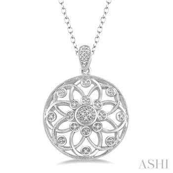 Silver Medallion Diamond Pendant